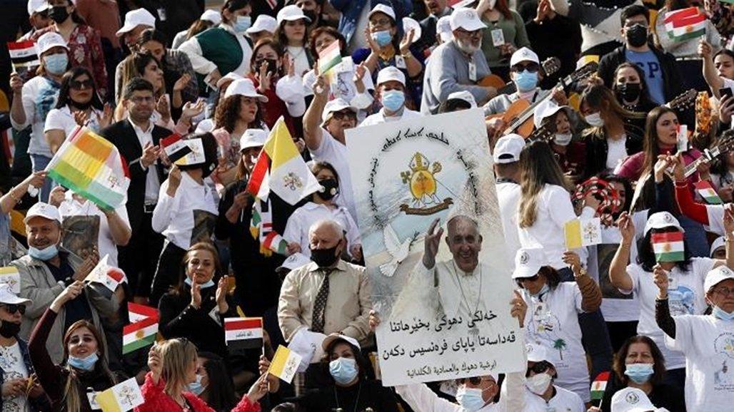 البابا يصل ملعب فرانسو حريري في اربيل لاحياء قداس بحضور 10 الاف مواطن